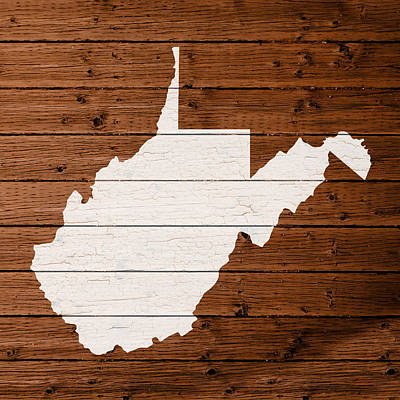 Map Of West Virginia State Outline White Distressed Paint On Reclaimed Wood Planks Print by Design Turnpike