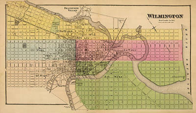 Vintage Map Photograph - Map Of Wilmington 1868 by Andrew Fare