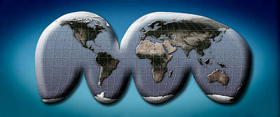 Map Of World From Goodes Homolosine Art Print by Panoramic Images