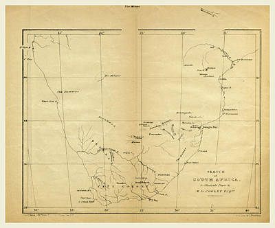 Map, Prospectus Of An Expedition Into The Interior Of South Art Print