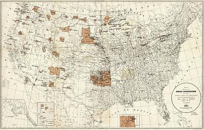 Map Reservations, 1888 Art Print