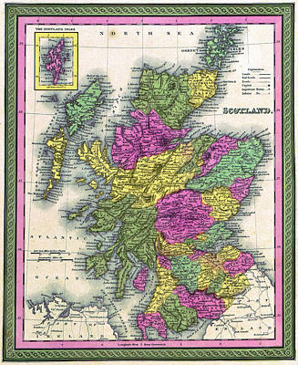 Painting - Map Scotland, 1849 by Granger