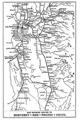 Photograph - Map Showing Routes To Monterey - Pacific Grove Circa 1920 by California Views Archives Mr Pat Hathaway Archives