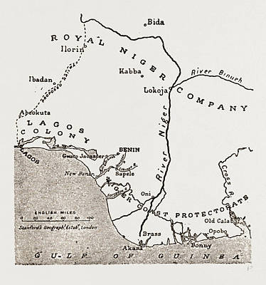 Map Showing The Situation Of Benin Art Print by Litz Collection