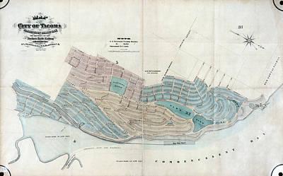 Map: Tacoma, 1873 Art Print by Granger