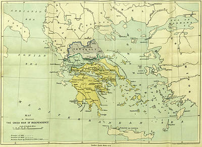 1833 Drawing - Map, The War Of Greek Independence, 1821 To 1833 by Litz Collection