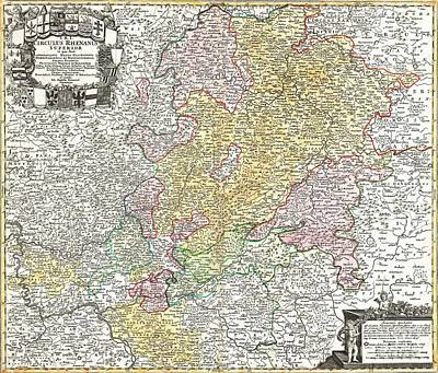 Drawing - Map - Upper Rhine Region by Pg Reproductions