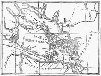 San Juan Painting - Map Vancouver Island, 1859 by Granger