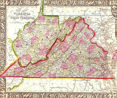 Drawing - Map Virginia - West Virginia by Roberto Prusso