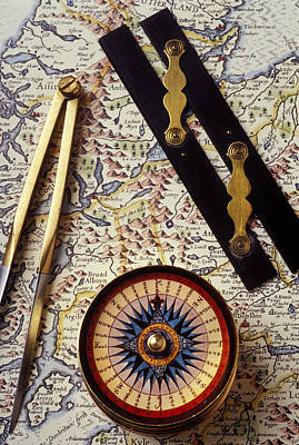 Photograph - Map With Compass Tools by Garry Gay