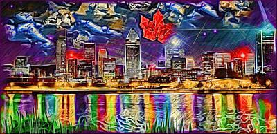 Maple Leaf Montreal Art Print