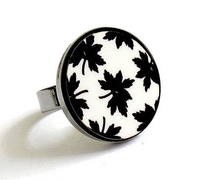 Adjustable Ring Jewelry - Maple Leaves In Black And White Ring by Rony Bank