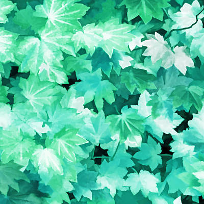 Photograph - Maple Leaves Teal Green Abstract by Jennie Marie Schell