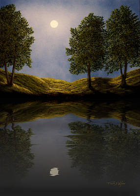 Realism Photograph - Maples In Moonlight Reflections by Frank Wilson
