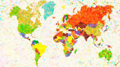 maps pointilism World Map with leaves Art Print by MotionAge Designs