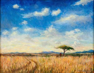 African Warriors Painting - Mara Landscape by Tilly Willis