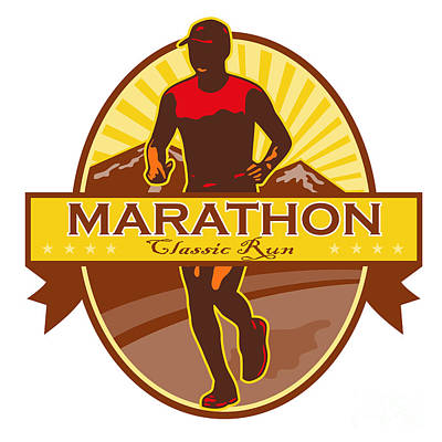 Jogging Digital Art - Marathon Classic Run Retro by Aloysius Patrimonio