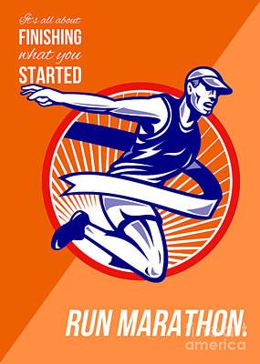 Jogging Digital Art - Marathon Finish What You Started Retro Poster by Aloysius Patrimonio