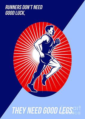 Jog Digital Art - Marathon Good Luck Good Legs Poster by Aloysius Patrimonio