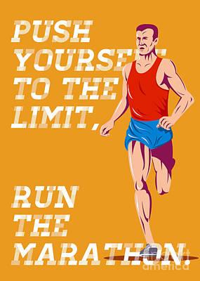 Jogger Digital Art - Marathon Push To The Limit Poster by Aloysius Patrimonio