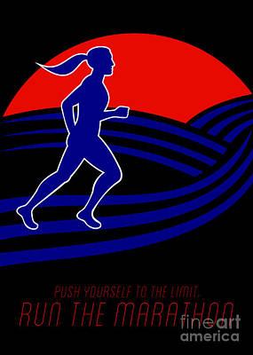 Jog Digital Art - Marathon Runner Female Pushing Limits Poster by Aloysius Patrimonio