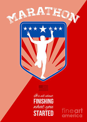 Marathon Runner Finish Run Poster Art Print by Aloysius Patrimonio