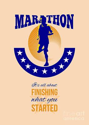 Jogging Digital Art - Marathon Runner Finishing Retro Poster by Aloysius Patrimonio
