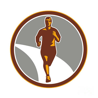 Jogging Digital Art - Marathon Runner Front Circle Retro by Aloysius Patrimonio