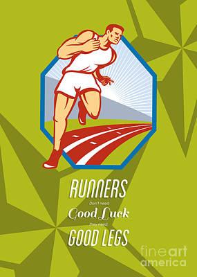 Marathon Runner Race Track Retro Poster Art Print by Aloysius Patrimonio