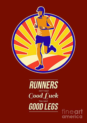 Jogging Digital Art - Marathon Runner Retro Poster by Aloysius Patrimonio