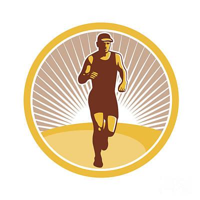 Jogging Digital Art - Marathon Runner Running Front Circle Retro by Aloysius Patrimonio