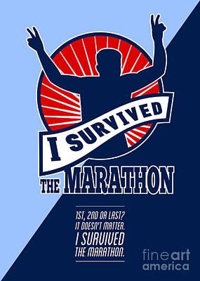 Marathon Runner Survived Poster Retro Art Print by Aloysius Patrimonio