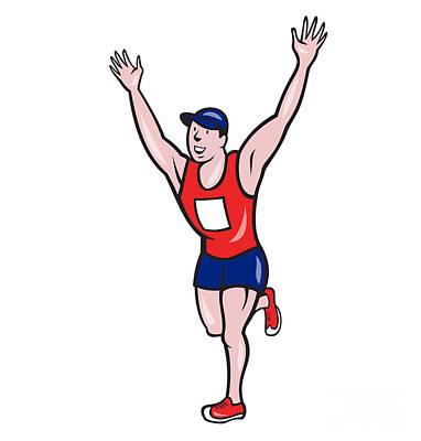 Marathon Runner Winning Cartoon Art Print by Aloysius Patrimonio