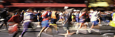 Marathon Runners On The Road, New York Print by Panoramic Images