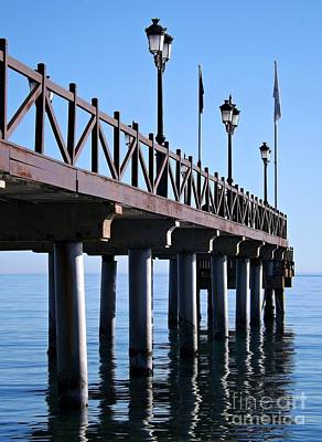 Art Print featuring the photograph Marbella Pier Spain by Clare Bevan