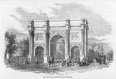 Hyde Park Drawing - Marble Arch, At The Time Part  Of Hyde by  Illustrated London News Ltd/Mar