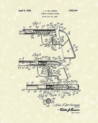 Drawing - Marble Pistol 1932 Patent Art by Prior Art Design