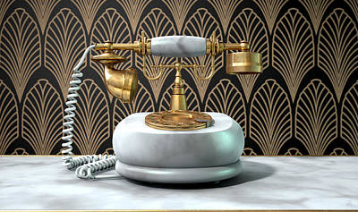 Marble Telephone And Art Deco Scene Art Print by Allan Swart