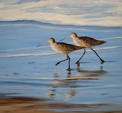 Sandpiper Drawing - Marbled Godwit by Tina Obrien
