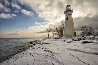 Marblehead In The Snow Art Print by Laura James