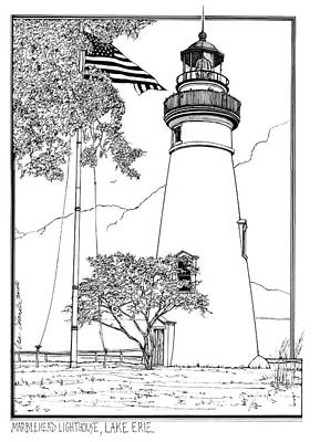 Lake Erie Drawing - Marblehead Lighthouse Lake Erie by Ira Shander