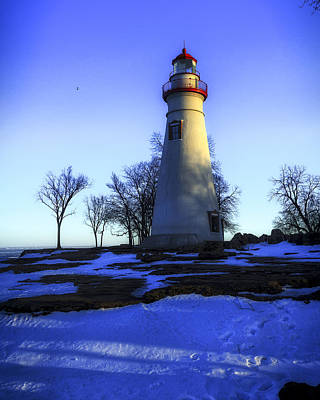 Photograph - Marblehead Lighthouse Ohio Winter Sunset by Jack R Perry