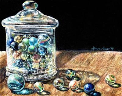 Wood Table Drawing - Marbleous Memories by Shana Rowe Jackson