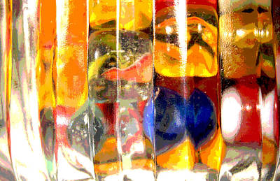 Art Print featuring the photograph Marbles In A Glass Bowl by Mary Bedy
