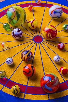 Abundance Photograph - Marbles On Game Board by Garry Gay
