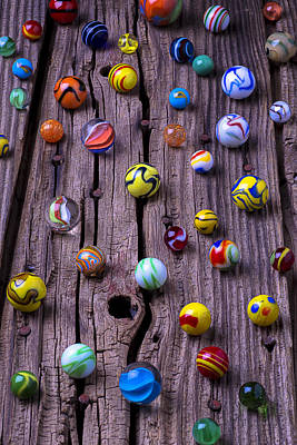 Marbles On Wood Print by Garry Gay