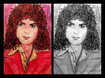 Painting - Marc Bolan Double Portrait  by Joan-Violet Stretch