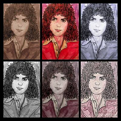 Mixed Media - Marc Bolan Glam Rocker Collage by Joan-Violet Stretch