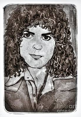 Marc Bolan Painting - Marc Bolan In Monochrome 2 by Joan-Violet Stretch