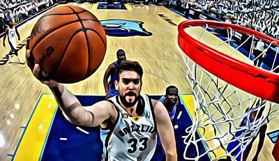 Basketball Painting - Marc Gasol by Florian Rodarte